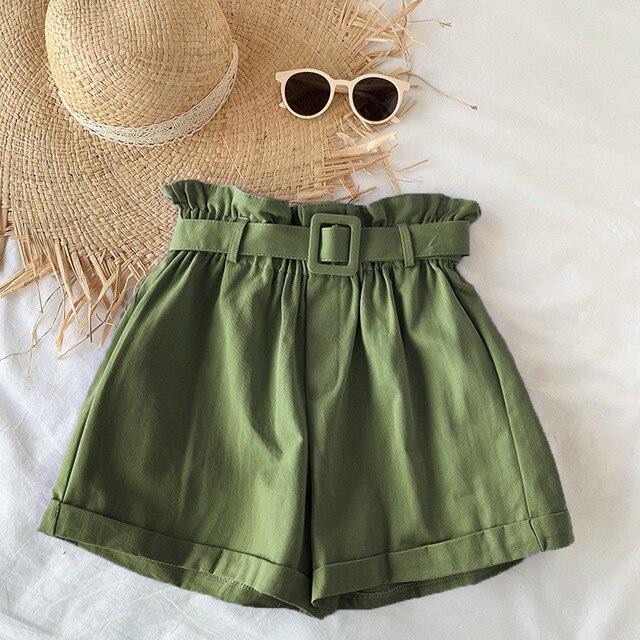 Elegant Cotton Shorts womens 2021 Summer New Wild Leisure Bead Bud Wide Leg shorts High Waist Slimming Shorts with a Belt 6