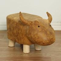 Modern Animal Stools Elephant Cow Dinosaur Wood Small Stool Sofa Footstool Chair Bedroom Bench Kids Furniture Leather Ottoman