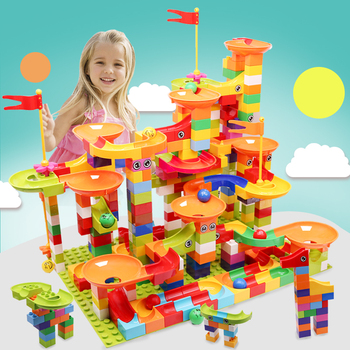 Big Size Marble Race Run Maze Ball Track Building Blocks DIY Colorful Funnel Slide Assemble Bricks Educational Toys For Children candice guo plastic toy children block track ball building blocks 74pcs diy maze marble run construction system race deluxe gift