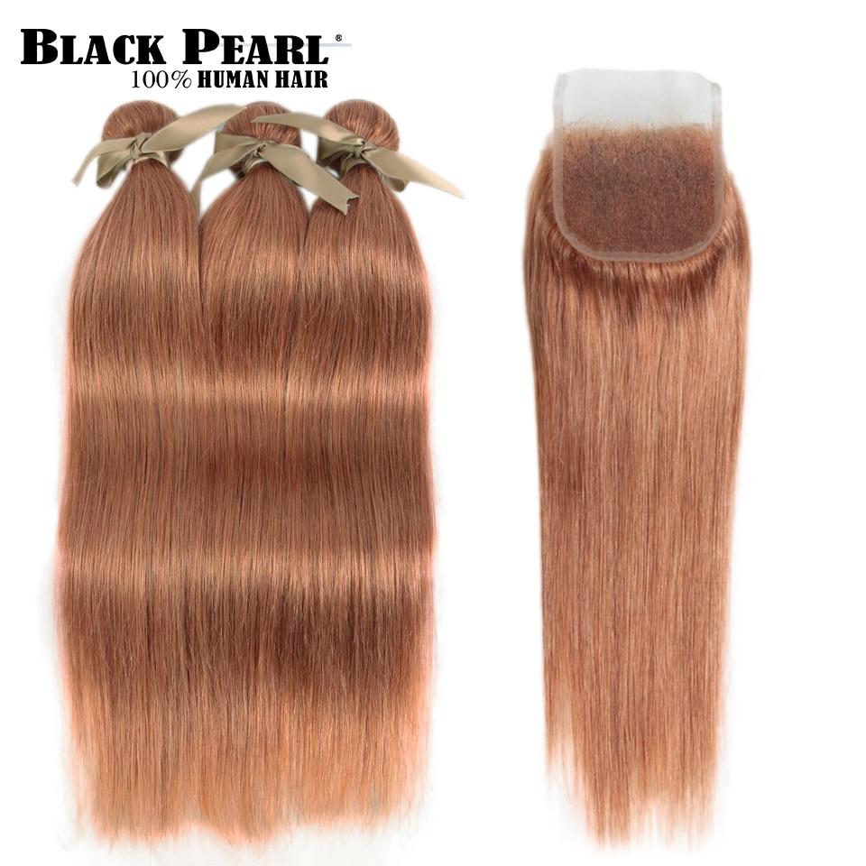 Black Pearl Brazilian Straight Hair Bundles With Closure Remy Human Hair 3 Bundles With Closure Color O Blonde II