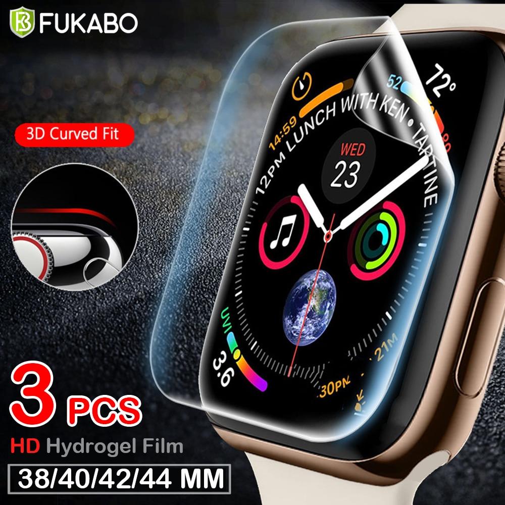 Película de hidrogel de cobertura completa para Apple Watch, Protector de pantalla de 38MM, 40MM, 42MM, 44 MM, 38 40 42 44 MM, película suave transparente sin vidrio templado