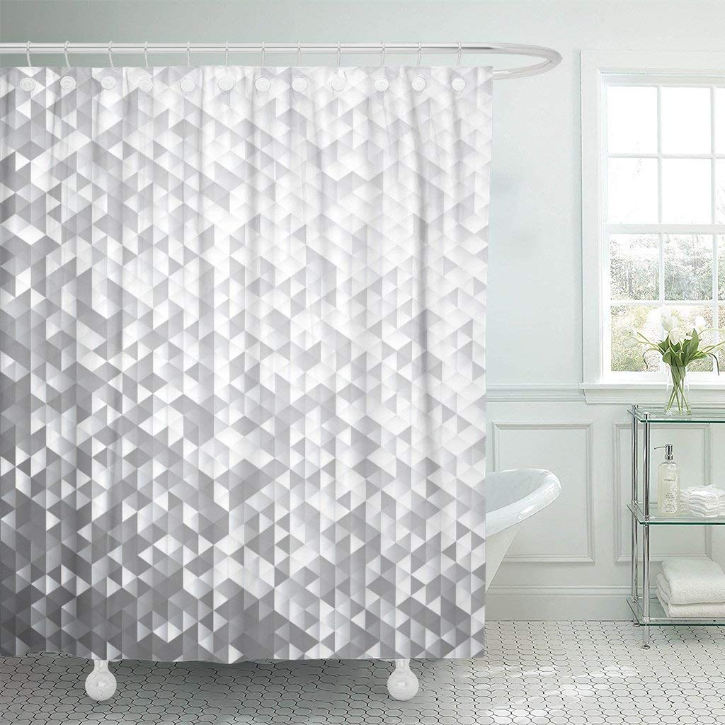 crystal silver gray blinking sequins mosaic pattern diamond glam shower curtain waterproof polyester fabric 72 x 78 inches