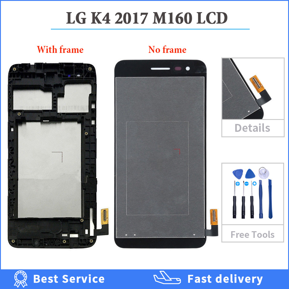 5.0 inch Display For <font><b>LG</b></font> K4 2017 <font><b>M160</b></font> <font><b>LCD</b></font> Screen Touch Digitizer Assembly M150 M151 M160e <font><b>Lcd</b></font> Repair Parts with Bezel Frame +GIFT image
