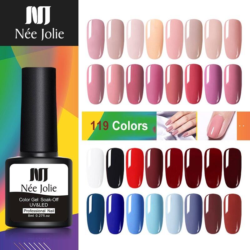 NEE JOLIE 8ml Solid-color Nail Gel Polish 20 Pink Pure Colors LED Lamp Soak Off UV Varnish One-shot Color Art