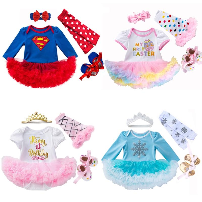Fantasia ano novo bebê menina vestido de páscoa algodão 1st vestido de aniversário bodysuit + sapatos meias bandana 4 pçs conjuntos roupas crianças traje