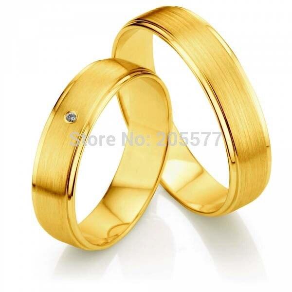 Nouveauté son et son alliance ensembles or jaune placage hommes et femmes titane couples anneaux