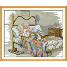 Joy Sunday The old married couple count cross stitch pattern kit 14CT 11CT precision canvas printing embroidery needlework set