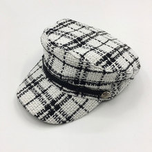 Wholesale new Cotton Female hat lattice Flat Peaked Octagonal Hat Fashion Women Vintage Beret Cap men Striped Retro British
