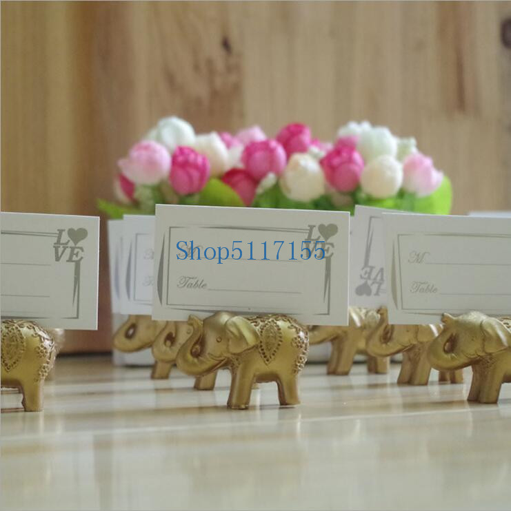 100pcs Golden Gold Lucky Elephant Place Card Holder Holders Name Number Table Place Wedding Favor Gift Unique Party Favors image