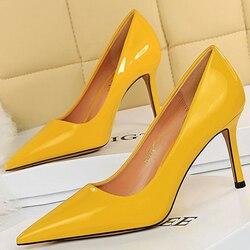 BIGTREE Shoes Patent Leather Woman Pumps Women Heels Stiletto 8 Cm High Heels Female Shoes Party Shoes Fashion Pumps Footwear