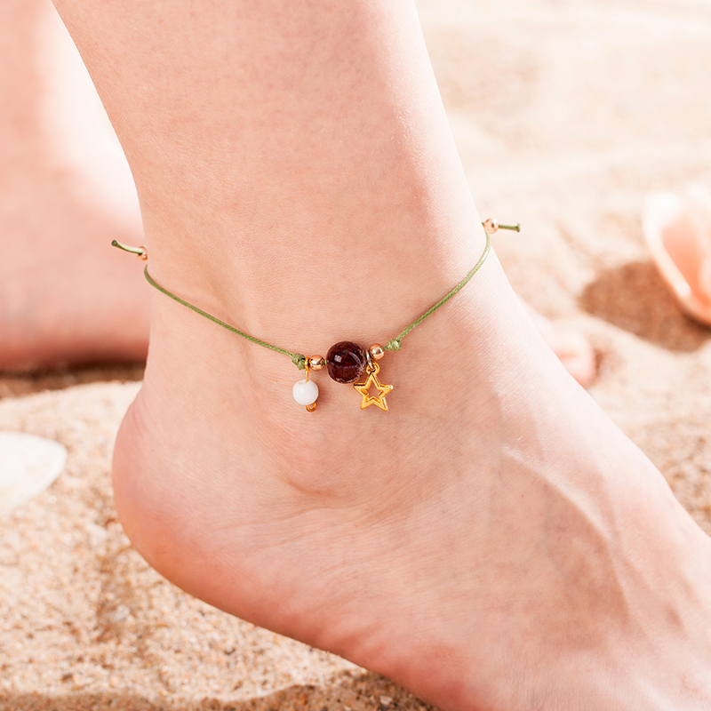 hot new girl handmade anklet bracelet simple fashion men and women lucky leg chain braided rope star chain couple jewelry gift
