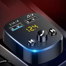 Bluetooth Wireless 5.0 Bluetooth Car Kit Handsfree MP3 Player FM Transmitter 3.1A Dual USB Charger U Disk Play In-Car Modulator