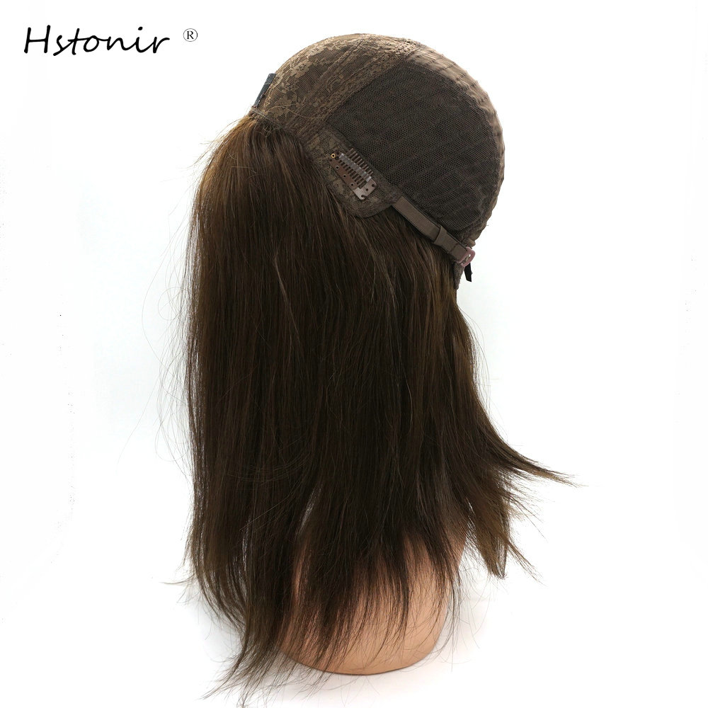 Hstonir Straight Kosher Wig Silk Top Certificated Jewish Wig Sheitels European Remy Hair Hairpiece Pelucas De Mujer J002