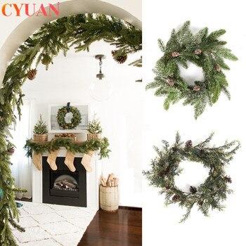 Decoración navideña de mimbre Artificial, planta, Pines, conos, guirnalda para hogar, chimenea,...