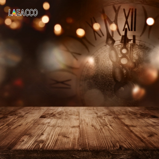Laeacco Happy New Year Party Photophone Clock Light Bokeh Wooden Floor Photography Backdrops Baby Newborn Photo Backgrounds Prop