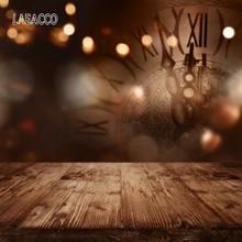 Laeacco новогодний праздничный Фотофон с часами светильник лый боке деревянный пол фон для фотосъемки Новорожденные фото фоны Опора