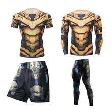 Tracksuit Mma Rashguard Skin-Compression Boxing-Sets Tight Fitness Men's 3D Body-Building