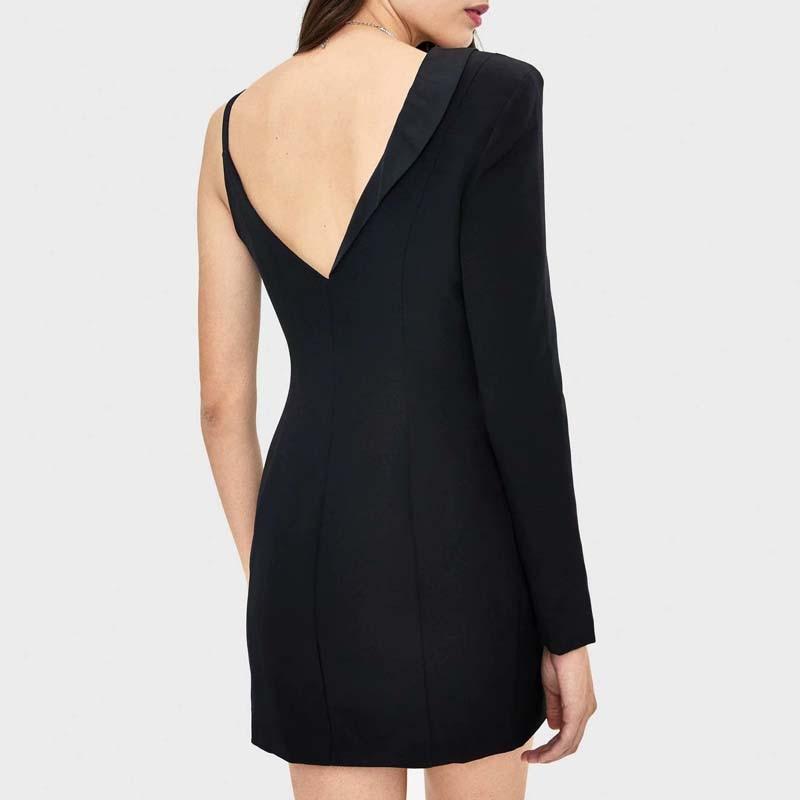 Черное женское платье-блейзер с асимметричным воротником, сексуальные вечерние мини-платья с глубоким v-образным вырезом для клуба, модная ...