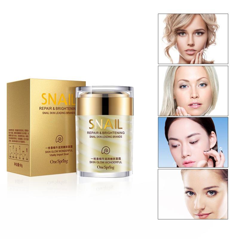 1PC Natural Snail Moisturizer Facial Cream Hydrating Whitening Skin Anti Aging Anti Wrinkles Shrink Pores Women Skin Care TSLM1
