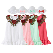 New 2020 Summer Little Girls Cute Flower Decor Ruffles O-neck A-line Dress with Hat Kids Baby Girls Sleeveless Princess Dresses kids girls summer dress red yellow solid color o neck flowers pattern a line knee length regular sleeveless girl dresses 5ds274