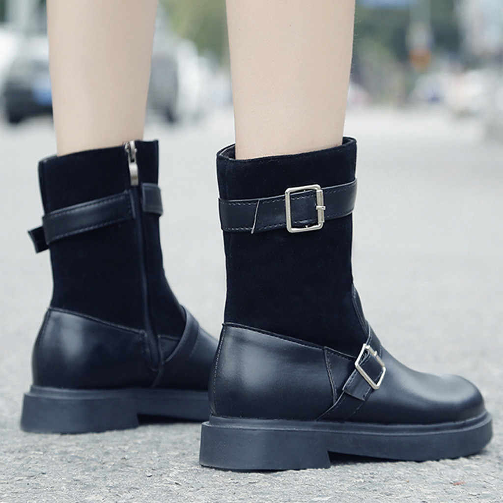 Toka Kayış Şövalye Çizmeler Kadın PU Deri Kare Topuklu Saf Renk Yuvarlak Ayak daireler yarım çizmeler Kadınlar için chaussures femme