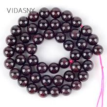 цена Natural Round Dark Red Garnet Stone Beads Diy Necklace Accessories 4mm-12mm Spacer Loose Beads For Jewelry Making 15'' Wholesale онлайн в 2017 году