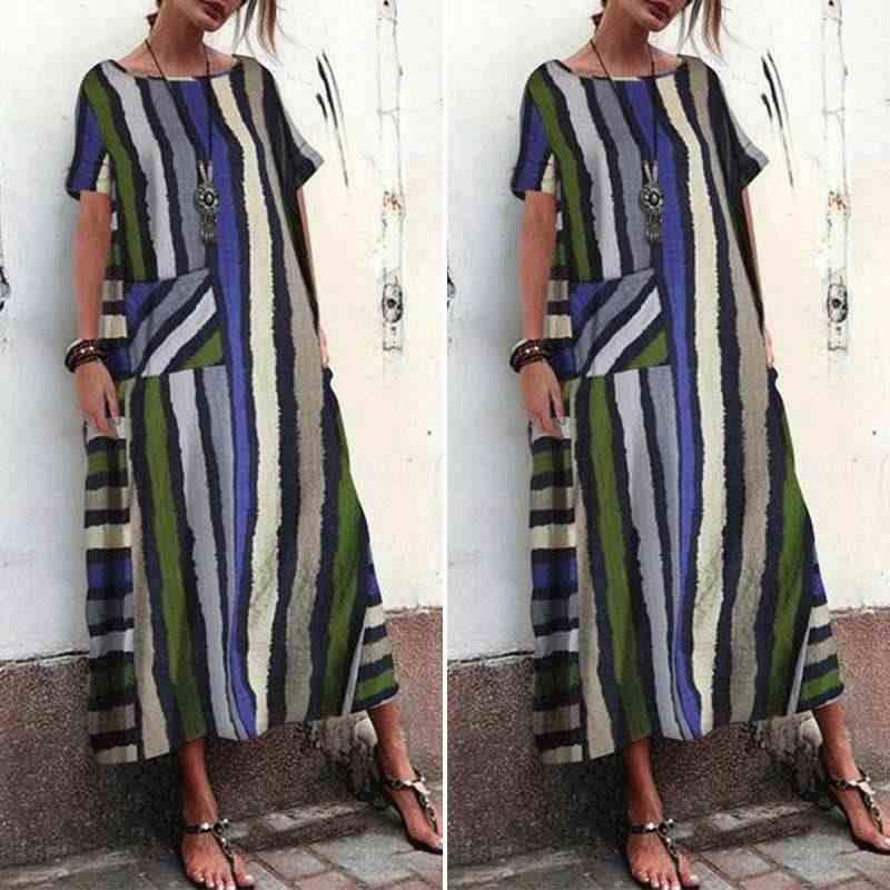 ZANZEA 2020 קיץ נשים קצר שרוול שמלה קיצית בוהמי פסים מקסי שמלת Robe Femme שמלות קפטן 5XL גדול גודל חוף Vestido