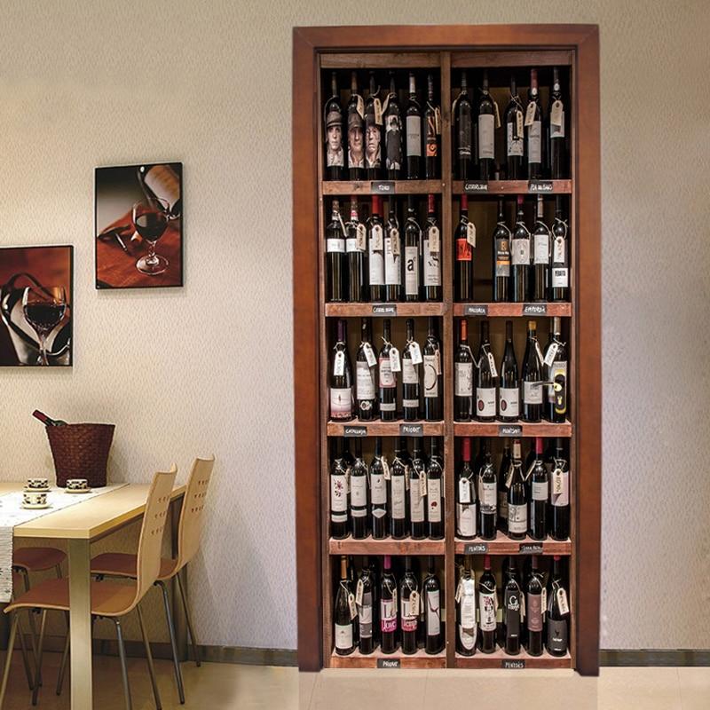 Photo Wallpaper 3D Retro Wine Bottles Door Sticker Living Room Dining Room Self-Adhesive Waterproof Door Poster Home Decor Decal
