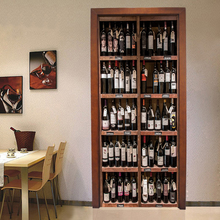 Papel pintado de foto 3D Retro botellas de vino pegatina de puerta sala de estar comedor autoadhesivo resistente al agua Cartel de la puerta decoración del hogar etiqueta