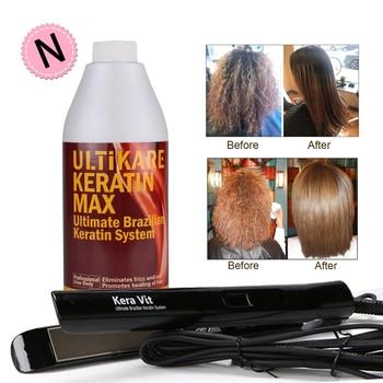 Hot Level 1000ml 5% Formalin Chocolate Keratin Treatment +Hair flat iron Keratin Hair Straighten Repair Hair For Salon Store недорого