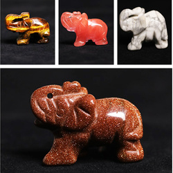 Natural Crystal Animal Transparent Crystal Tianhe Stone, Dongling Jade Natural Stone Like Diyu Decorative Quartz Elephant