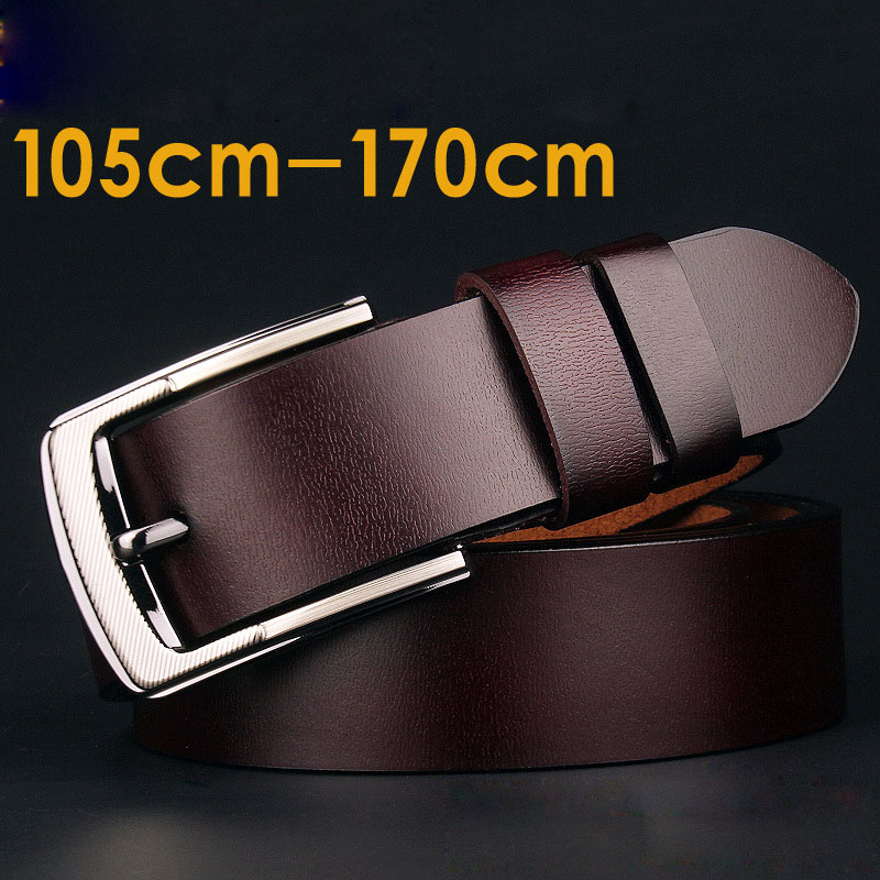 140 150 160 170cm Men Belt with Pin Buckle Fashion Long Large Size Cow Genuine Leather Belts Men Male High Quality Waist Belt