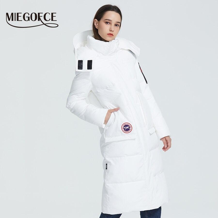 MIEGOFCE 2019 nouveau manteau d'hiver Parka pour femme coupe ample longueur sous le genou veste avec poches Style décontracté résistant col capuche