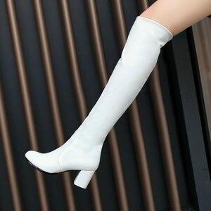 Image 3 - 2020ファッションニーハイブーツの女性の冬のブーツ太いハイヒールロングブーツラウンドで春秋の靴女性ブラックホワイト