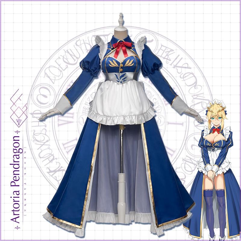 Pre-sale Uwowo Anime Fate/Grand Order Arturia Pendragon  Lancer Blue Dress Lovely Sexy Uniform Costume Hallowee Suit For Women