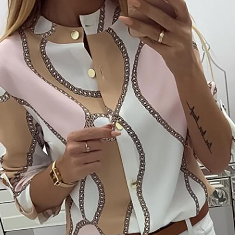 Chains Print Button Design Casual   Blouse   Women Long Sleeve Workear Tops Elegant Office Ladies   Shirt   Womens Tops And   Blouses