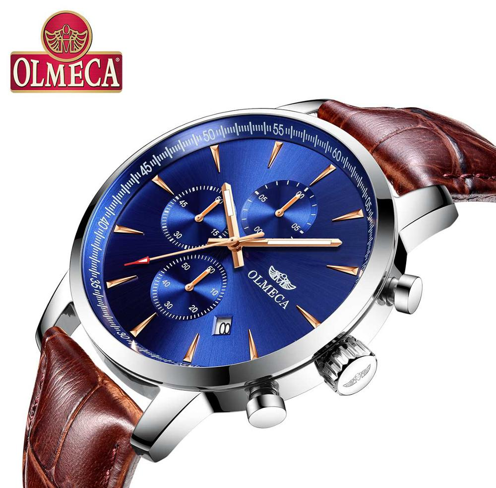 OLMECA Men's Watch Luxury Fashion Casua Dial Stainless Leather Wrist Watches Business Watch luminous function Health Watch