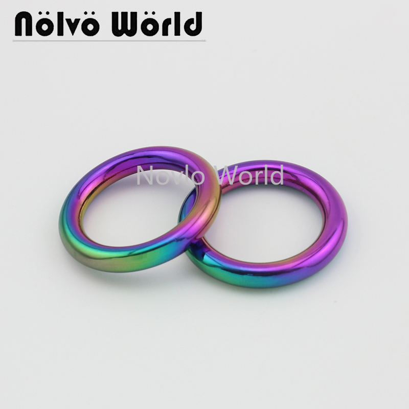 Wholesale 500pcs, Inner Width 25mm 1 Inch, Rainbow Metal O Ring Decorative Circle Bag Die Casting Ring Diy Accessories