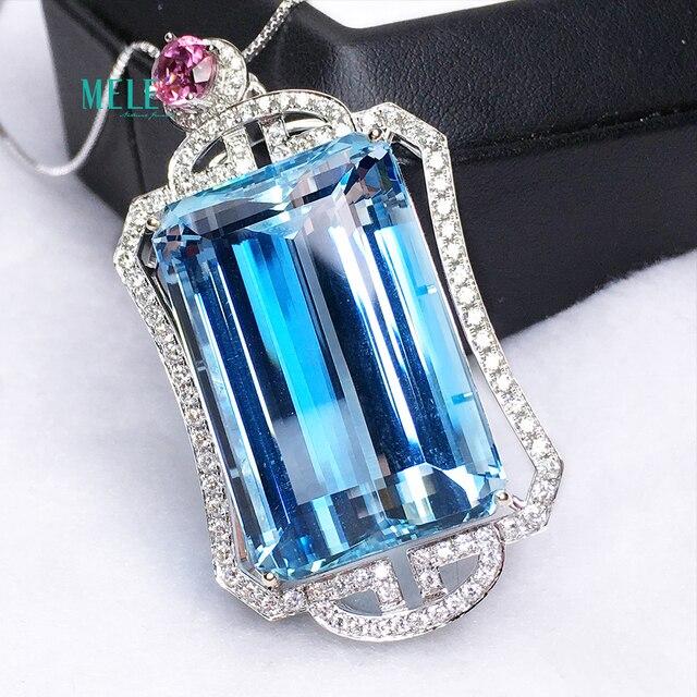 Piedra principal aguamarina Natural colgante de plata 56ct 925 personalidad Retro moda collar clásico 3