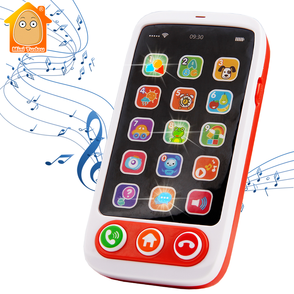 Baby Mobile Phone Toy Kids Fake Phone Cartoon Music Simulation Sound Babyphone Early Educational Learning Toys For Children Gift