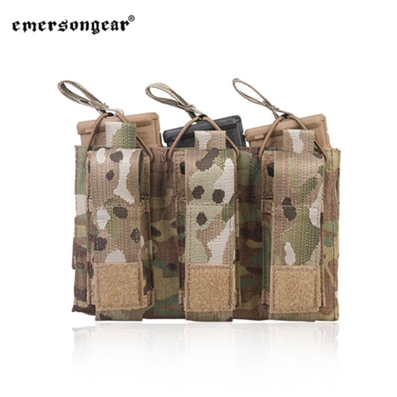 Malote do Exército Emersongear Magazine Malotes Triple Aberto Superior Pistola Rifle Mag Bolsa Molle – Pals Coldre Carrier Militar 5.56