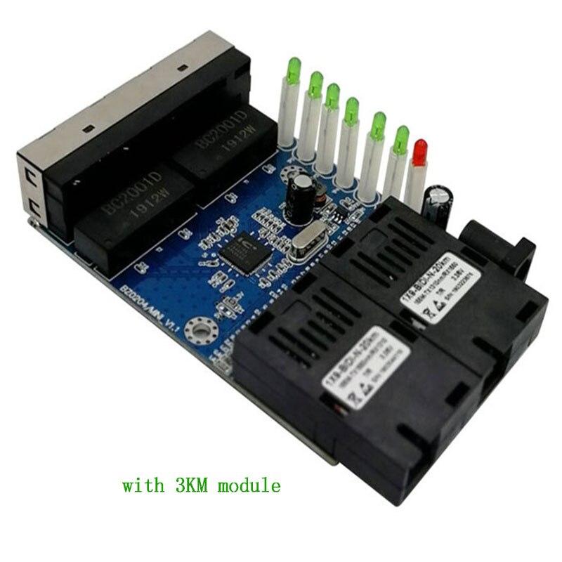 Ethernet Switch  Fiber Optical Media Converter Single Mode 4 RJ45 And 2 SC Fiber Port 10/100M PCBA 3KM