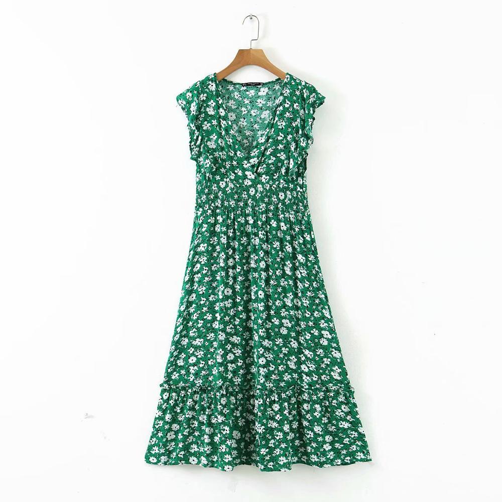 New 2020 women v neck flower print ruffles green midi dress elegant shrink fold design vestidos chic brand party dresses DS3576