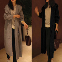 Autumn loose coat Oversized Womens Long Sleeve Knitted Cardigan Sweater Casual Outwear Coat Jacket @8
