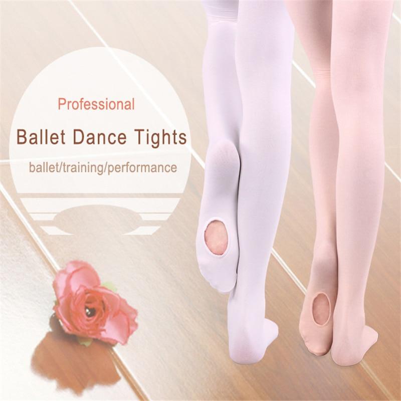 Adult Girls Convertible Ballet Tights Microfiber Dance Stockings Seamless Women Ballet Pantyhose