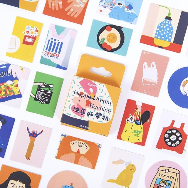 46 Pcs/box Happy Dream Machine Bullet Journal Decorative Stationery Mini Stickers Set Scrapbooking DIY Diary Album Stick Lable