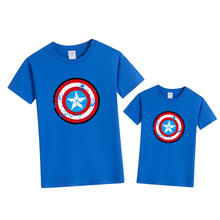 Family Matching T-Shirt Outfits Captain-Shield Summer Dad Boy Short Tops