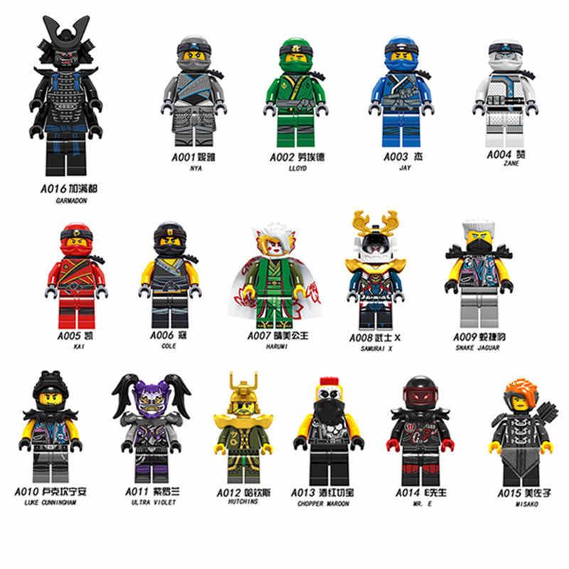 LegoINGly Ninja cifras Frakjaw Garmadon Jay Zane Kai Lloyd Samukai Cole Harumi Pythor, Nuckal Wu bloques de construcción ladrillos Juguetes