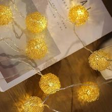 10 LED Wire Corduroy Ball Battery Box USB Dual-Purpose String Iron Wool New Ball Christmas Holiday Decoration Lights Lantern