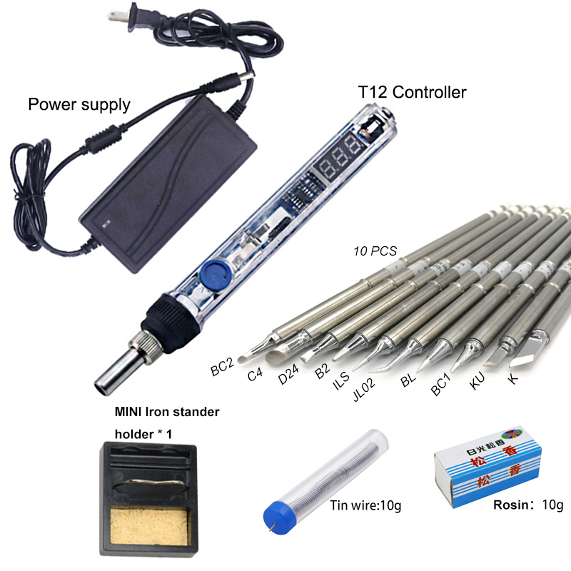 Mini T12 Electric soldering iron 72W adjustable temperature digital T12 solder station welding tool WIth DC 24V Power adapter